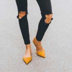 Zara Mustard Pointed Slingback Pumps